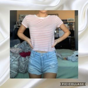 Pink Forever 21 Striped Tee
